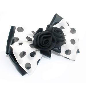 Moliabal Milano Bow Hair Pin-  Black | White | Black Pin Dots | Rose Accent