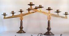 Superbe paire candélabre bougeoir bronze doré d'église XXèm antique 5feux laiton
