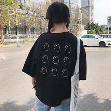 Harajuku Pigeon Letter Print T-shirt Tee Women Black Casual Loose  Tops Summer