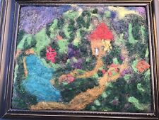 Vintage Felted Wool Original Art Mid Century Cottage Garden In Wood 11x13 Frame