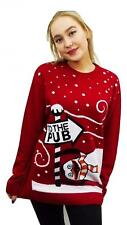 Womens Xmas Penguin to the pub Vintage Cardigan Long Sleeve Jumper Sweater