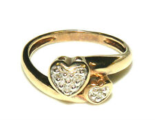 Estate 10K Solid Yellow Gold & Diamond Hearts Ring Size 7.5 Hallmarked AAJ