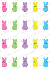 "20 Nail Decals * EASTER MARSHMALLOW BUNNIES PEEPS"" Water Slide Nail Art Decals"