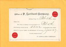 Lorillard Tobacoo Co 1896 Jersey City Climax  Ad Jefferson Postal Card  z21