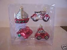 4 TRANSPORTATION CAR CHRISTMAS ORNAMENTS DECORATION