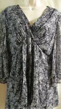 AMERICAN GLAMOUR by BADGLEY MISCHKA ~Silk~ Black/Gray~Lined Tunic Top -Large~EUC
