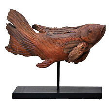 """Wood Root Koi Fish Statue On Stand 23"""" - 33916"""