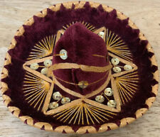 Sombrero Hat For Small Pet Cat Dog Clothes Costume Festive Burgundy And Gold