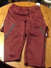 Nike womens maroon training sweat pants womens medium nwt drifit zippered legs