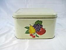 Vintage 13 x 9 x 8 Fruit Pattern Design Metal Kitchenware Bread Box