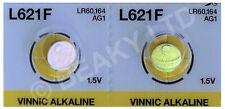 Genuine Vinnic AG1 L621 LR621 164 Mercury Free Alkaline Battery 1.5v [2-Pack]