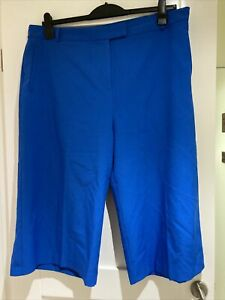 Ladies Blue Tailoured Cropped Culottes Trousers Size 20 New Without Tags