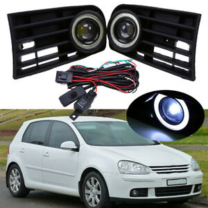 For Volkswagen Rabbit 2003-2009 Pair Front DRL Fog Light Lamps Grilles Bezels