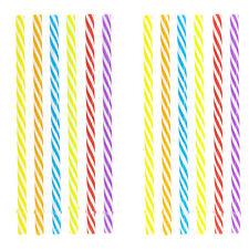 "MULTICOLOR DRINKING REUSABLE STRAWS 7.5"" Tumbler Kids Spiral Stripe Design x12"