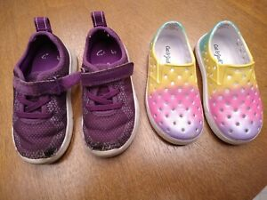 Lot of TWO TODDLER Shoes CLARKS size 6 1/2 M 6.5 M   CAT & JACK size 6, purple