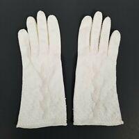 Vtg Ladies White Gloves Beaded Made in Hong Kong 1970s- Size 7.5