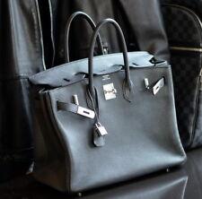HERMES Birkin BLACK 35cm Q 2013 leather ladies bag purse clemence 35 togo