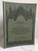 Catálogo de Venta Sotheby Continental y Russian Autógrafo Noviembre 1981