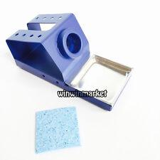 Metal Base Soldering Iron Station Gun Stand Holder &tips Cleaning Sponge 1pcs