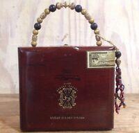 Vintage Cigar Wood Box Handbag Purse Fuente Opusx Chateau De La Fuente