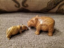 Lot Of 2 Beautiful Carved Stone Hippos - Hippopotamus Hippo