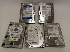 "Job Lot of 5x 500GB 3.5"" SATA HDD Internal Mixed Brands wiped & tested inc VAT"
