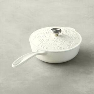 """""""Cotton"""" Olive Branch Relief LE CREUSET 2.25 Quart Cast Iron Saucier Collection"""