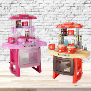 Electronic Children Kids Kitchen Cooking Toy Portable Girls Cooker Play Set Gift