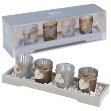 Home Decor 4 Tea Light Holders With Modern Wood Tray Decorative Stones Gift Set