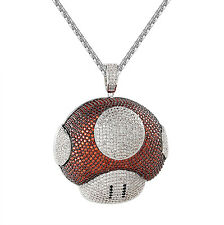 Red Mario Mushroom Pendant Chain Red White Simulated Diamond Hip Hop Iced Out