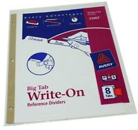 Avery Big Tab Write-On Reference Dividers 8 Tabs 1 set Erasable Reusable