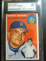 1954 Topps #187 Heine Manush Sgc 6 80 HOF High End