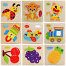 5PC Baby Toddler Intelligence Development Animal Wooden Brick Puzzle Toy Classic