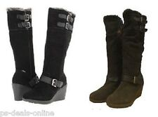 Khombu Womens Rainbow 2 Suede Winter BOOTS Size 6 Black or Brown UK 4 Browns