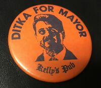 Mike Ditka for Mayor Kelly's Pub Button Pin Back Vintage Chicago Bears *2