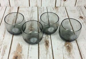 Vintage 1970s Houston Oilers Set of 4 Glasses Smoky Glass 10 oz Low Ball Glasses