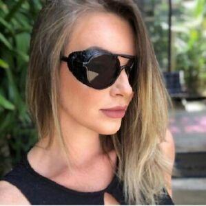Men Women's Sunglasses Fashion Steampunk Gothic Goggles Retro Leather Side Round