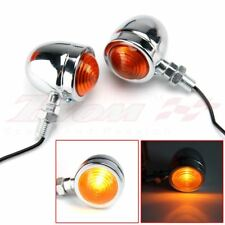 2X Universal Motorcycle Turn Signal Indicators Blinker Amber Light Chrome Metal