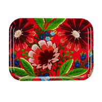 "Swedish Folk Art Flower Sandwich Tray Red Holiday Christmas 11"" x 8"""