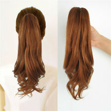 """8-12"""" Short Thick Wavy Jaw-Claw Clip in Ponytail 100% Real Human Hair Extension"""