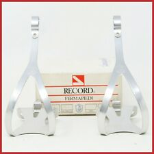 NOS CAMPAGNOLO RECORD TOE CLIPS QUILL PEDALS L VINTAGE 80s SIZE LARGE ALLOY NIB