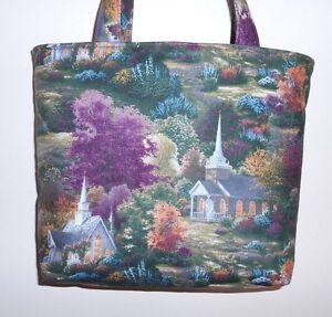 Handmade Thomas Kinkade Churches Tote Purse Bag