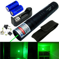 Powerful Green 1MW 532nm Laser Pointer Pen Light Beam Focus Military +2x Battery