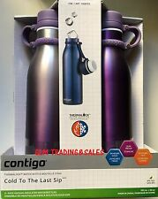 2x Avex Contigo Vaccum Insulated Water Drink Bottle Mug Thermos BPAFree Purple