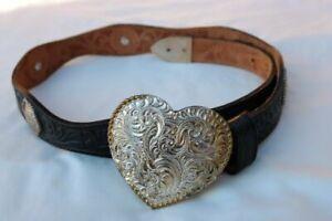 Tony Lama Concho Belt Crumrine Silver Buckle Tooled Leather Size 30 USA 26-5013L
