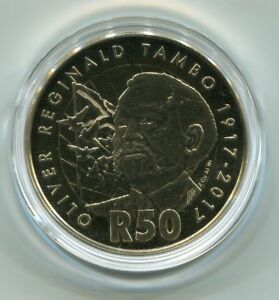 South Africa 2017 Official Oliver Tambo Proof R50 Coin in Presentation Folder