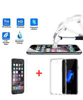 Ultra Thin Slim Clear Gel Case+Tempered Glass Screen Protector For iPhone 7Plus
