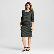 NWT Liz Lange maternity DRESS 3/4 Sleeve striped sz XXL Olive Navy