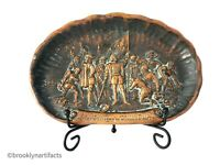 Large Antique American Historical Brass Relief Dish / Bowl - Landing of Columbus