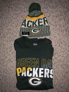 2 NEW ITEMS: GREEN BAY PACKERS (NFL) SPORT KNIT HAT & MEN'S LONG SLEEVE SHIRT